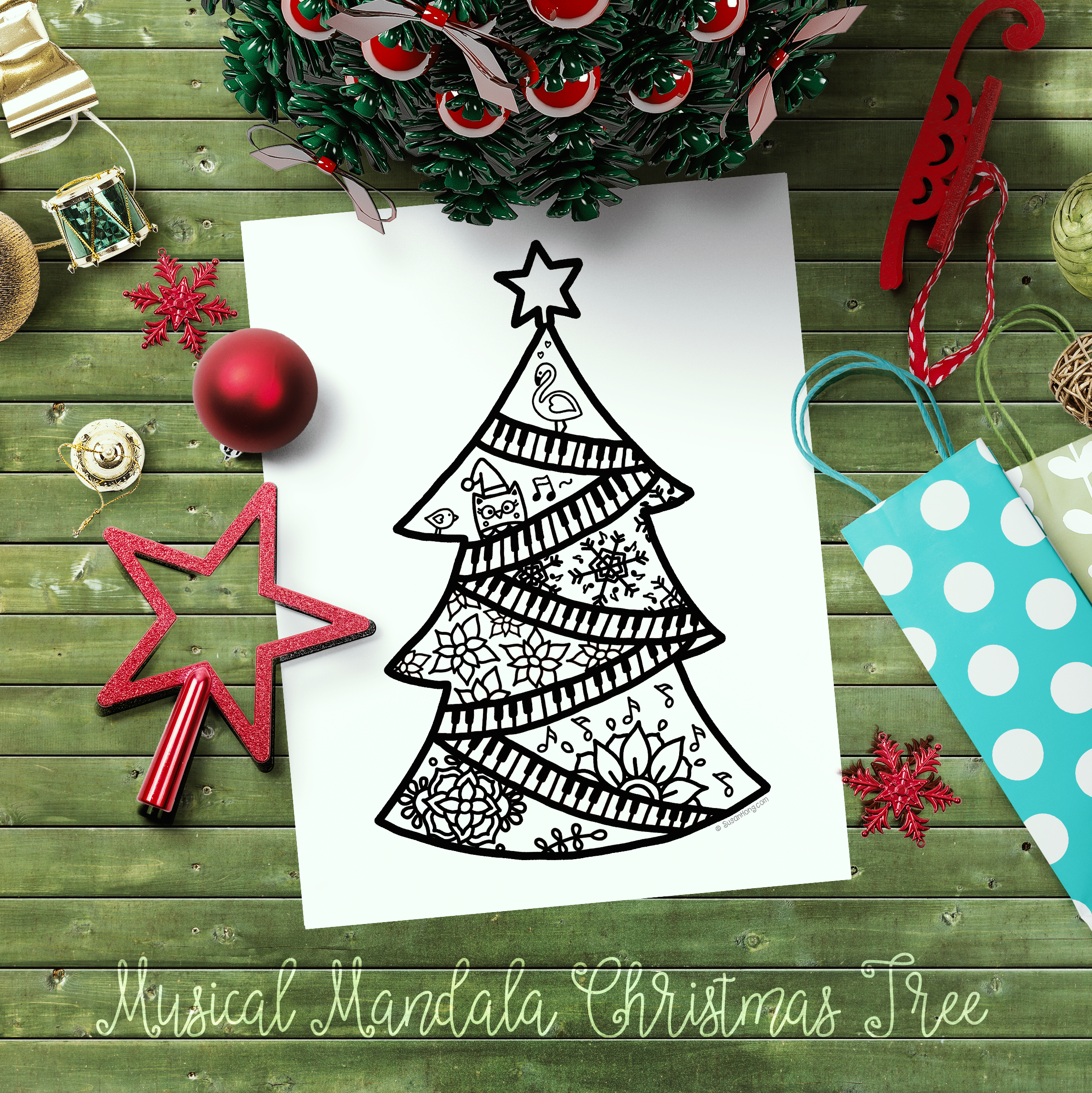 Musical Mandala Christmas Tree with bonus coloring page